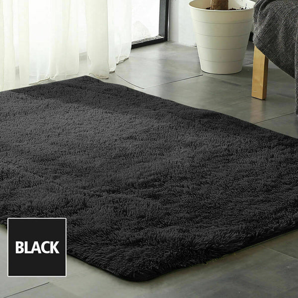 Designer Soft Shag Shaggy Floor Confetti Rug Carpet Home Decor 300x200cm Black