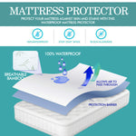 Fitted Waterproof Mattress Protector with Bamboo Fibre Cover Single Size
