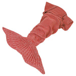 Mermaid Tail Crochet Blanket Sofa Rug Knit Handmade Soft Sleeping Bag Red