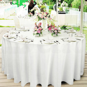1 Pc 305cm White Round Fitted Tableclothes Hemmed Edges Trestle Event Wedding