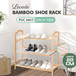 Bamboo Shoe Rack Storage Wooden Organizer Shelf Stand 3 Tiers Layers 80cm