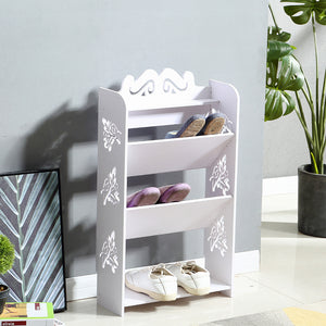 4 Tiers 43 Width Tilt Chic Hollow Shoe Rack Stand Storage Organiser Shelf