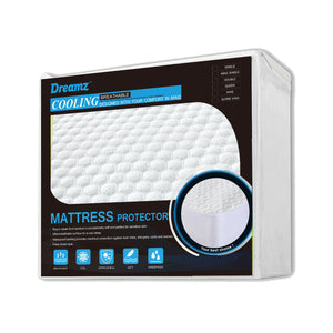 Mattress Protector Topper Polyester Cool Fitted Cover Waterproof Single