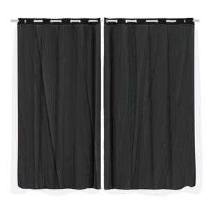 2x Blockout Curtains Panels 3 Layers with Gauze Room Darkening 180x213cm Black