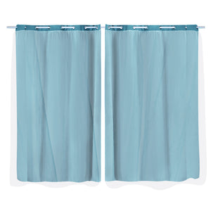2x Blockout Curtains Panels 3 Layers with Gauze Darkening 140x244cm Turquoise