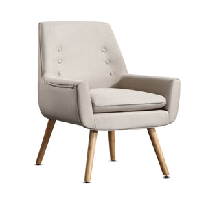 2x Upholstered Fabric Dining Chair-Beige