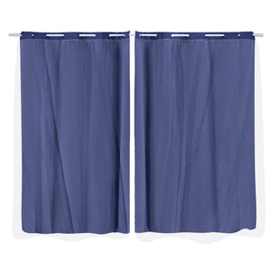 2x Blockout Curtains Panels 3 Layers with Gauze Room Darkening 140x230cm Navy