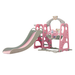 Kids Slide Swing Basketball Ring Set Pink