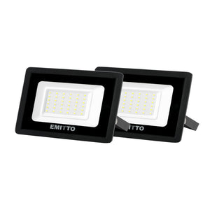 2x Emitto LED Flood Light 30W Outdoor Floodlights 220V-240V Cool White