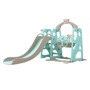 Kids Slide Swing Basketball Ring Set Blue