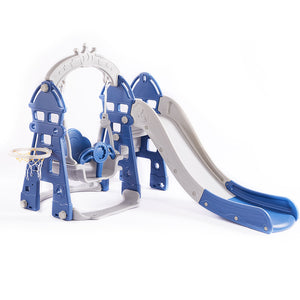 Kids Slide Swing Play Set Outdoor-Navy blue and grey