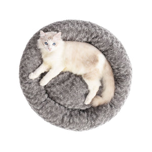 Pet Bed Dog Cat Nest Calming Donut Mat Soft Plush Kennel Cave Deep Sleeping L