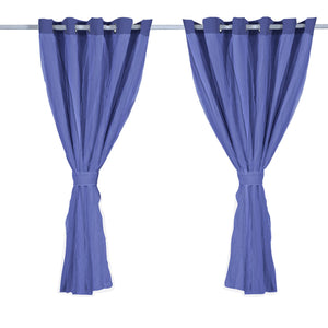 2x Blockout Curtains Panels 3 Layers with Gauze Room Darkening 180x213cm Navy