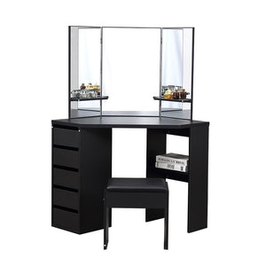 Dressing Table Stool Mirror Jewellery Organiser Makeup Cabinet 5 Drawers