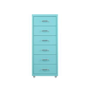 6 Drawer Metal Storage Cabinet-Blue
