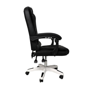 Gaming Chair Office Computer Seat Racing PU Leather Executive Racer Recliner Black without footrest
