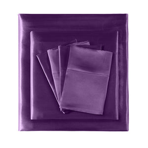 Ultra Soft Silky Satin Bed Sheet Set in Single Size in Purple Colour