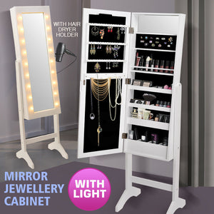 Mirror Jewellery Cabinet Dressing Makeup Jewelry Storage  Organiser Wood