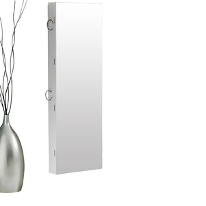 Wall Mounted or Hang Over Mirror Jewellery Cabinet in White Colour