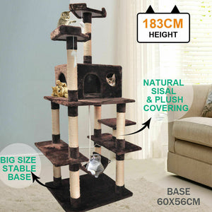 183cm Cat Scratching Post Tree Gym House Condo Furniture Scratcher Pole Brown