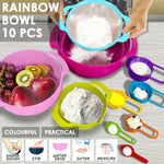10 Pcs Nesting Rainbow Measuring Cups Mixing Bowls with Handles Sieve Spoon