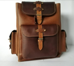 Unisex Leather Backpack - Brown