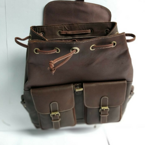 Unisex Leather Backpack - Dark Brown