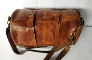 Crafted Bosski Leather Bag Travel Duffel - Brown