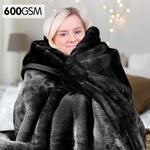 Laura Hill 600GSM Large Double-Sided Queen Faux Mink Blanket - Black