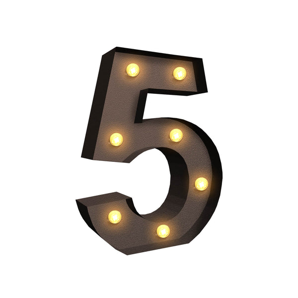 LED Metal Number Lights Free Standing Hanging Marquee Event Party Decor Number 5