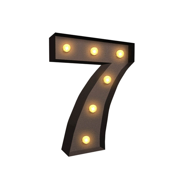 LED Metal Number Lights Free Standing Hanging Marquee Event Party Decor Number 7