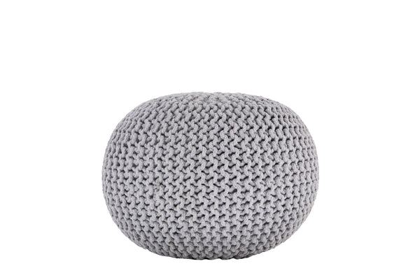 Knitted Pouf LIGHT GREY