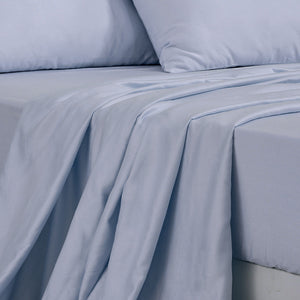 4 Pcs Natural Bamboo Cotton Bed Sheet Set in Size Double Grey