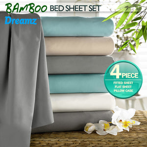 4 Pcs Natural Bamboo Cotton Bed Sheet Set Size Double Bluish Grey