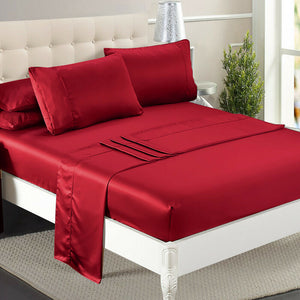 Ultra Soft Silky Satin Bed Sheet Set in King Single Size Burgundy Colour