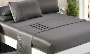 idropship Ultra Soft Silky Satin Bed Sheet Set in Single Size in Charcoal Colour