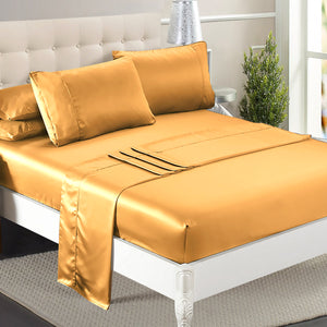 Ultra Soft Silky Satin Bed Sheet Set in Queen Size in Gold Colour