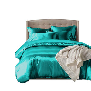 idropship 1000TC Silk Satin Duvet Cover Set in King Size in Teal Colour