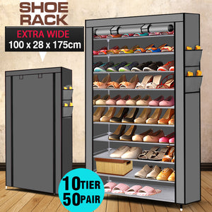 10 Tier Shoe Rack Portable Storage Cabinet Organiser Wardrobe Grey Cover