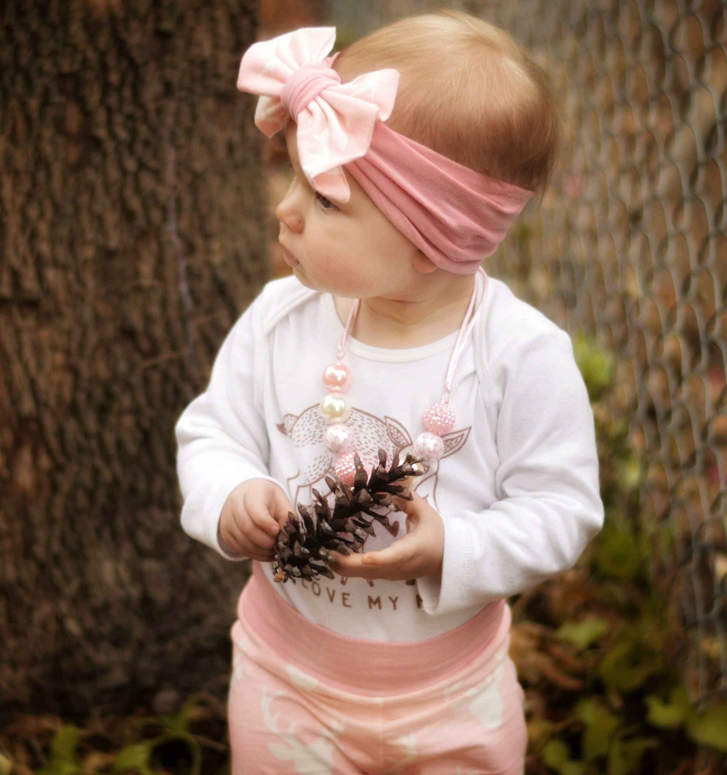 deer legging in light pink with headband