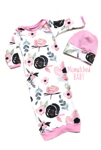 Floral pink baby gown