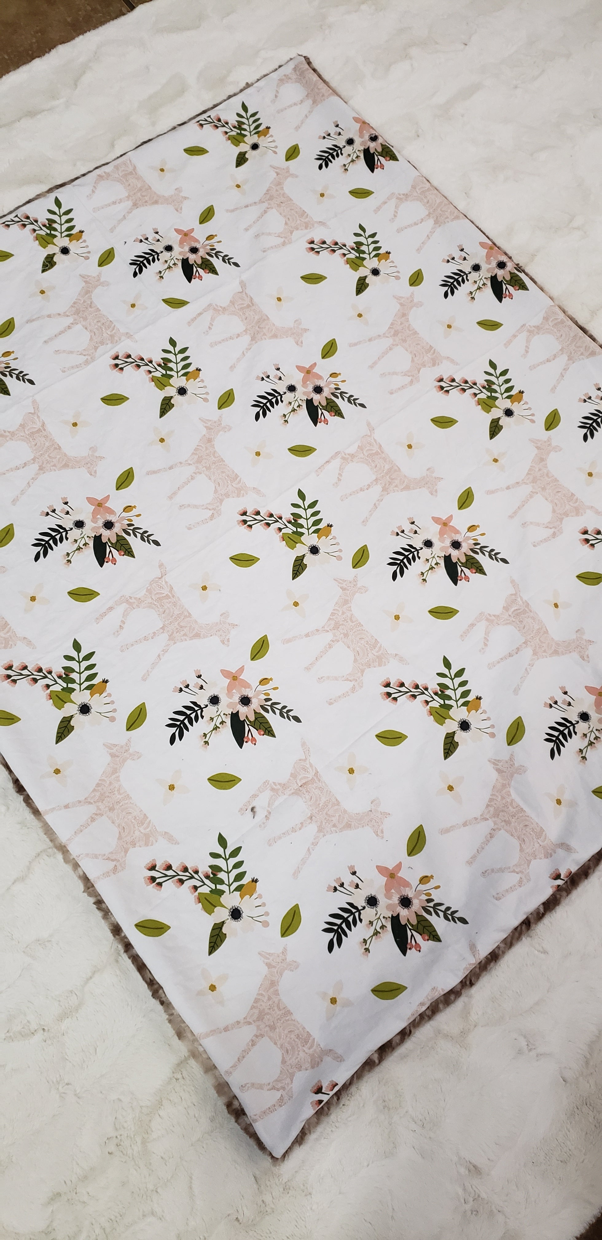 Fawn Floral Blanket