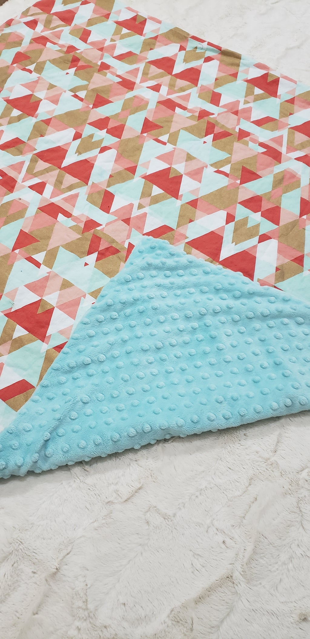 Blue and coral triangle Blanket