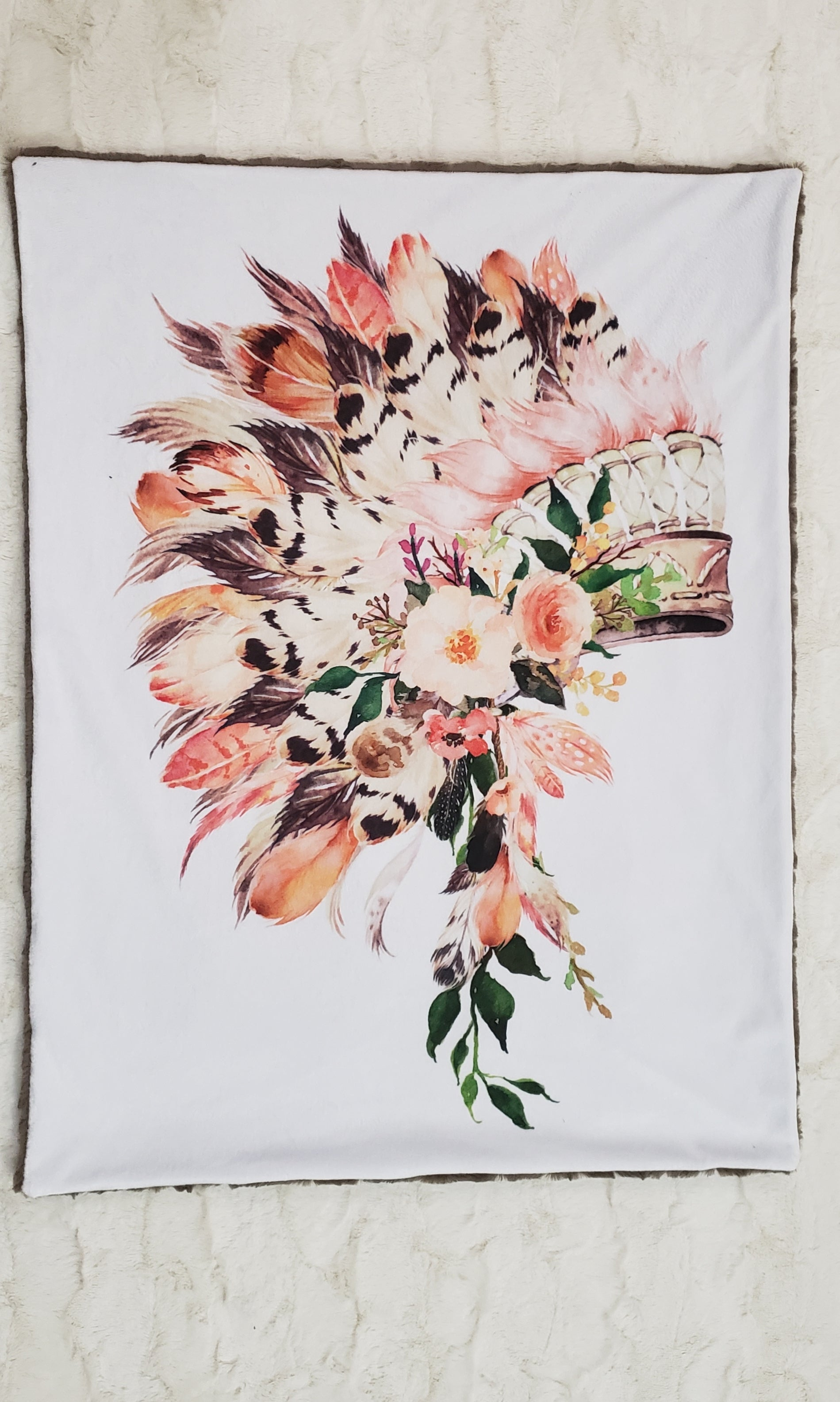 Peach Headress Floral Blanket