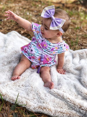 floral neon stripe spring romper with shoulder ruffle