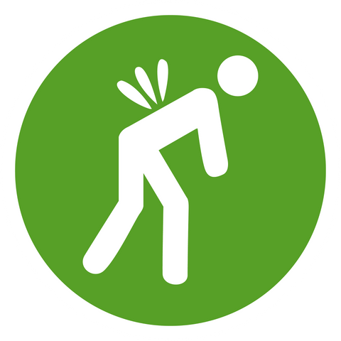 Green and white illustration of someone bending over with back pain.
