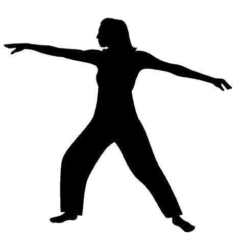 Outline of woman practicing flexibility exercises.