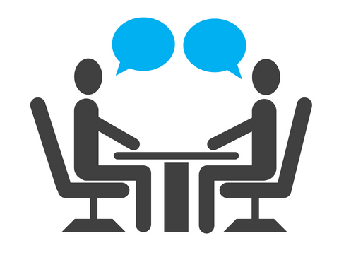 Illustration of two people talking while sitting at a table