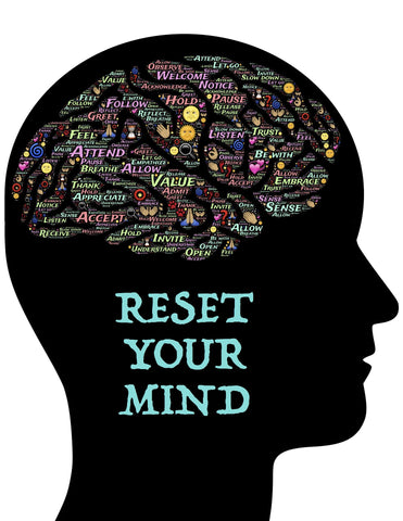 """Black illustration of a head with the words """"reset your mind"""" written on it"""
