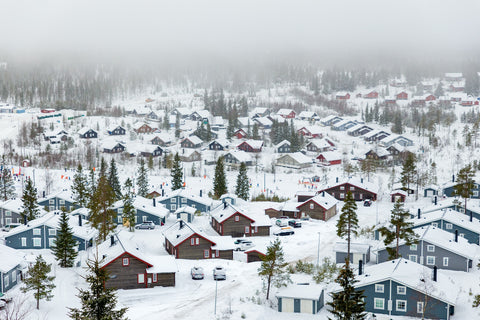 Aerial view of town covered in snow